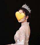 VIP Діадема золотого кольору з цирконами, що мають блиск діамантів (7см), фото 2