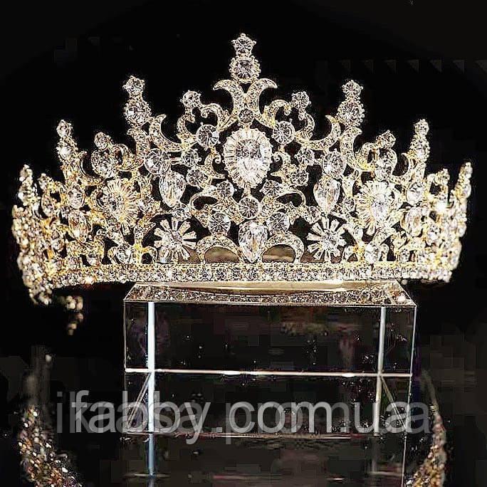 VIP Діадема золотого кольору з цирконами, що мають блиск діамантів (7см)
