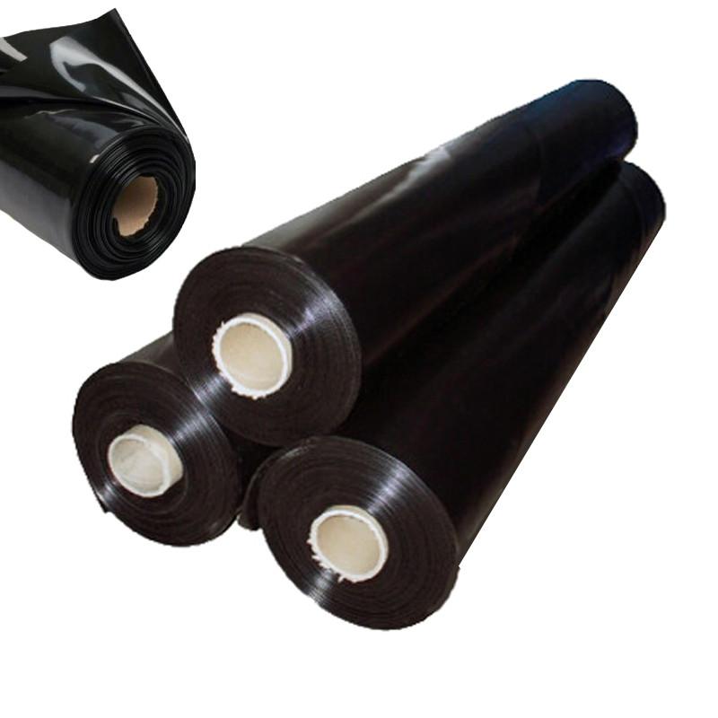 Пленка черная 6м х 50м 100мк полиэтиленовая пленка под стяжку, для сена, для мульчирования, строительная.