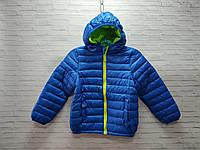 Куртка детская демисезонная для мальчика с капюшоном размер 3-7 лет, синего цвета