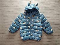Демисезонная детская куртка для девочки с ушками Мишка 3-7 лет, голубого цвета