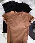 Женская базовая футболка из натуральной ткани (Батал), фото 9