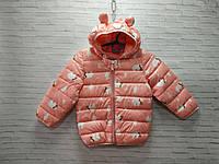 Демисезонная детская куртка для девочки Цветы 3-6 лет, фиолетового цвета