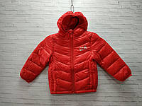 Демисезонная детская куртка для девочки с капюшоном DKR 3-7 лет, красного цвета