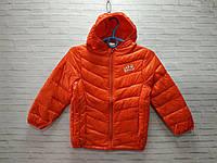 Демисезонная детская куртка для девочки с капюшоном DKR 3-7 лет, оранжевого цвета