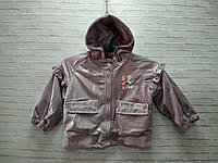 Демисезонная детская куртка для девочки Цветы 3-6 лет, фиолетового цвета, фото 1