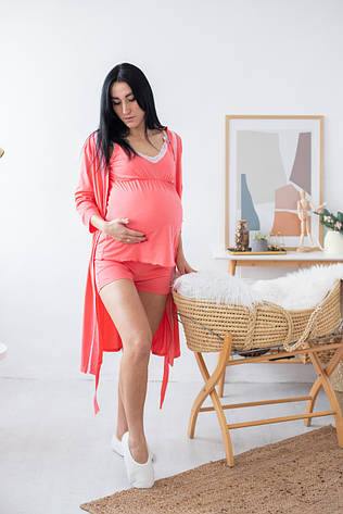 """Кружевной халат с пижамой для беременных и кормящих мам """"Coral"""" р.44-52"""