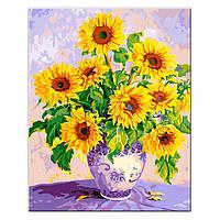 Картина по номерам «Подсолнухи в вазе» 40х50см