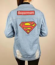 Джинсовая куртка с рисунком на спине superman светло синяя
