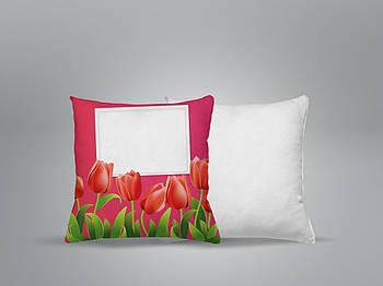 """Декоративная подушка для сублимации с принтом """"8 Марта"""" 35х35см.8В 5901"""