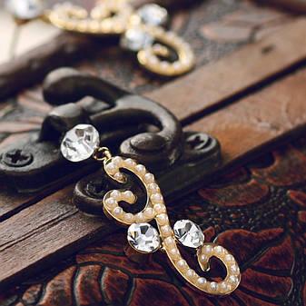 """Стильные женские серьги покрытые золотом с жемчугом и кристаллами Сваровски """"Лиэн II"""", фото 2"""