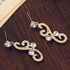 """Стильные женские серьги покрытые золотом с жемчугом и кристаллами Сваровски """"Лиэн II"""", фото 3"""