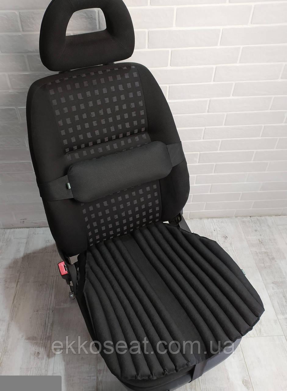 Подушка на авто сидение EKKOSEAT ортопедическая. Черная, Серая, Бежевая. Универсальные.