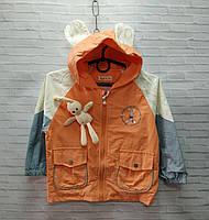 Ветровка детская для девочки с ушками на капюшоне Зайка размер 3-7 лет, оранжевого цвета, фото 1