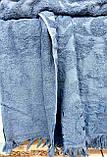 Турецька махрова жакардова простирадло євро розмір Тм Zeron SAÇAKLI LACIVERT синя, фото 2
