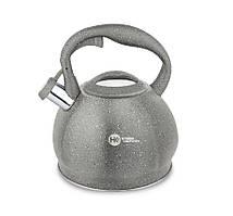 Чайник из нержавеющей стали  с гранитным покрытием 3,5 л  со свистком Higer Kitchen ZP-020 Серый