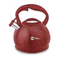 Чайник из нержавеющей стали  с гранитным покрытием 3,5 л  со свистком Higer Kitchen ZP-020 Красный