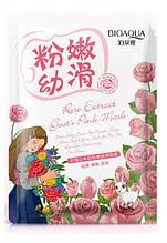 Отбеливающая тканевая маска Bioaqua для лица с козьим молоком и экстрактом розы Rose Extract Goats Pink Mask