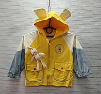 Ветровка детская для девочки с ушками на капюшоне Зайка размер 3-7 лет, жёлтого цвета, фото 1