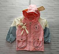Ветровка детская для девочки с ушками на капюшоне Зайка размер 3-7 лет, розового цвета, фото 1