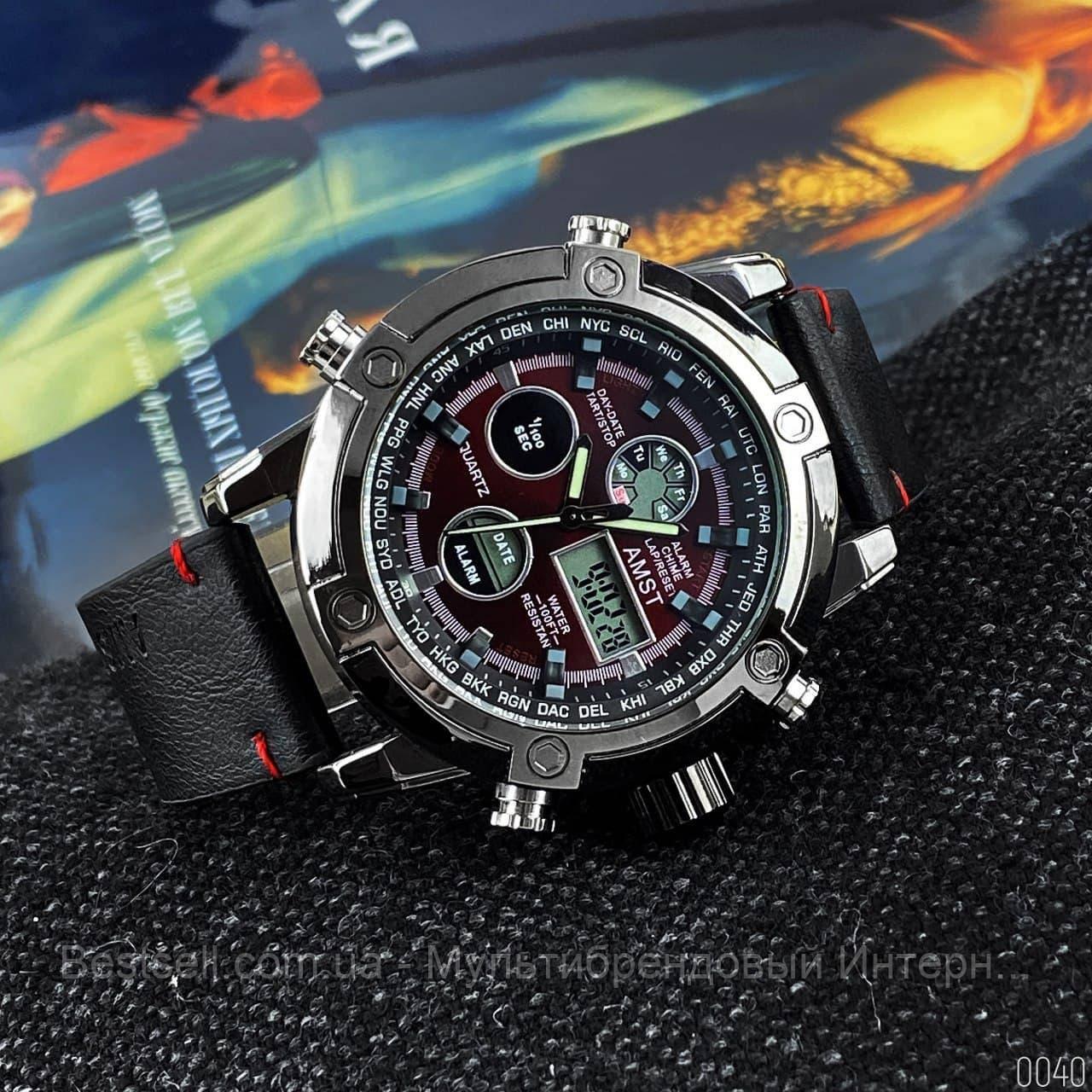 Оригінальні наручні чоловічі годинники AMST 3022 Black-Red Smooth Wristband