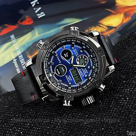 Оригінальні наручні чоловічі годинники AMST 3022 Black-Blue Smooth Wristband
