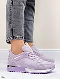 Стильные кроссовки женские фиолетовые эко-замш весна / осень, фото 2