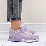 Стильные кроссовки женские фиолетовые эко-замш весна / осень, фото 4