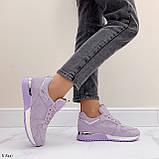 Стильные кроссовки женские фиолетовые эко-замш весна / осень, фото 6