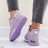 Стильные кроссовки женские фиолетовые эко-замш весна / осень, фото 8