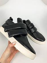Мужские модные черные кроссовки сникерсы на больших липучках giuseppe zanotti