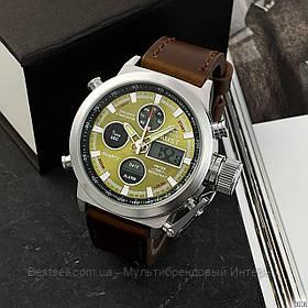 Оригінальні чоловічі годинники сталевий ремінець AMST 3003 Silver-Green-Brown Wristband