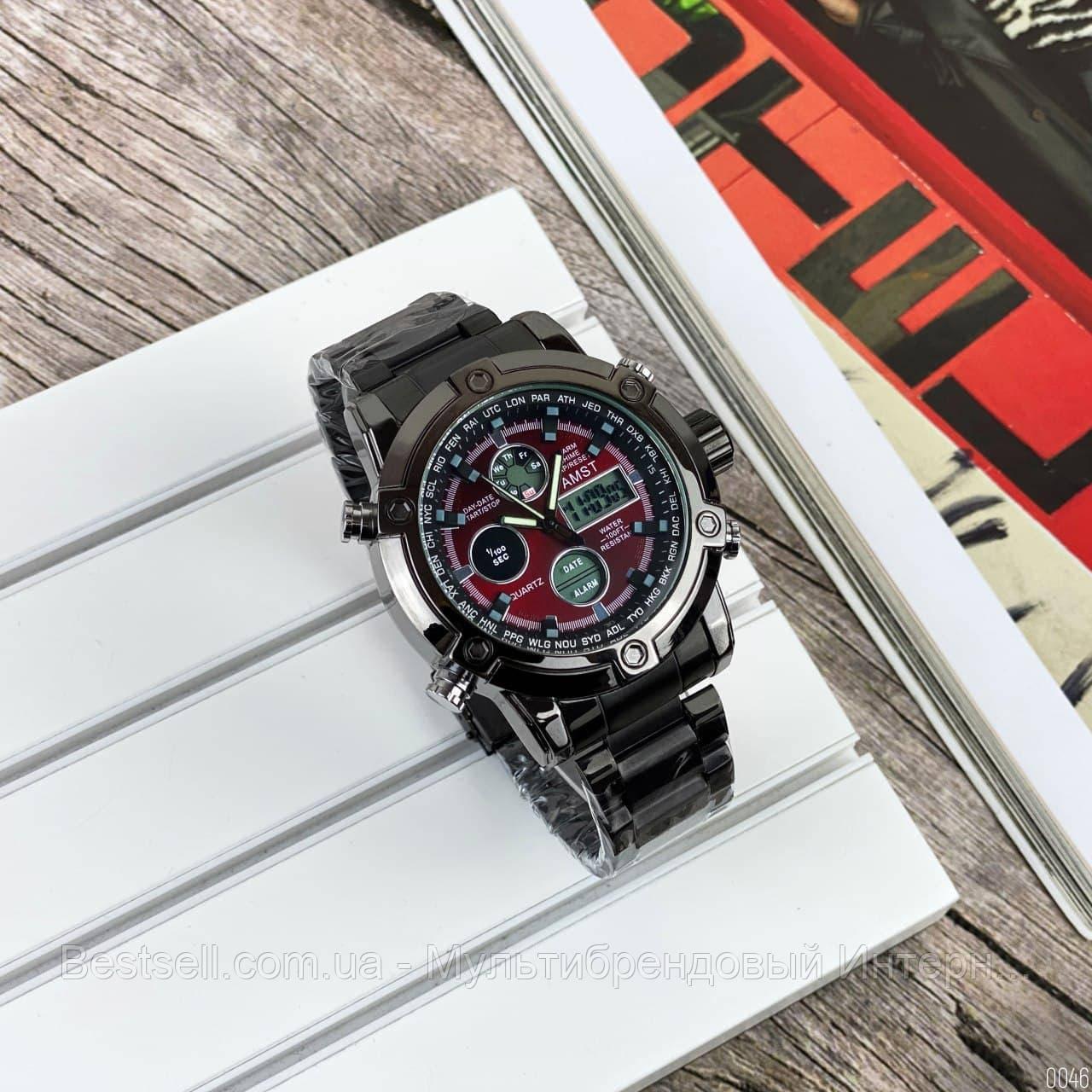 Оригінальні наручні чоловічі годинники AMST 3022 Metall Black-Red