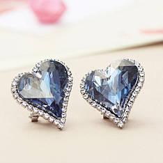 Женские серьги с камнями Сваровски Хрустальное сердце