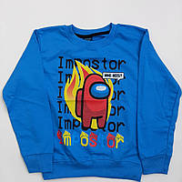 Реглан для мальчиков амонг ас Among us свитшот,кофта, батник,свитер голубой 3-8 лет рост 104-128см двухнитка