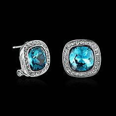 Маленькие классические женские серьги с голубыми камнями Сваровски