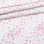 """Відріз фланелі """"Маленькі метелики"""" сіро-рожевого кольору, розмір 78 * 240 см, фото 2"""
