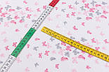 """Відріз фланелі """"Маленькі метелики"""" сіро-рожевого кольору, розмір 78 * 240 см, фото 5"""