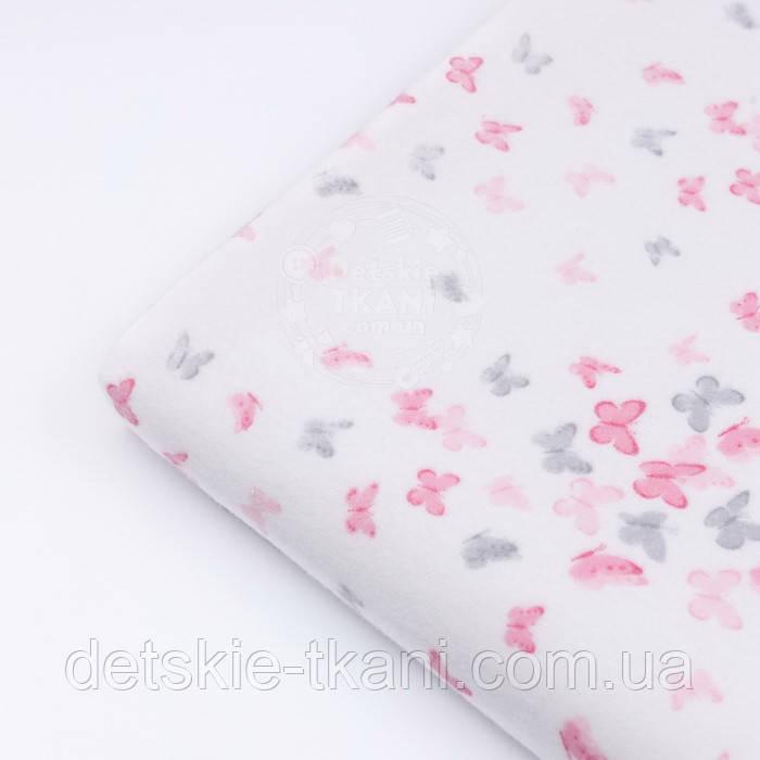 """Відріз фланелі """"Маленькі метелики"""" сіро-рожевого кольору, розмір 78 * 240 см"""