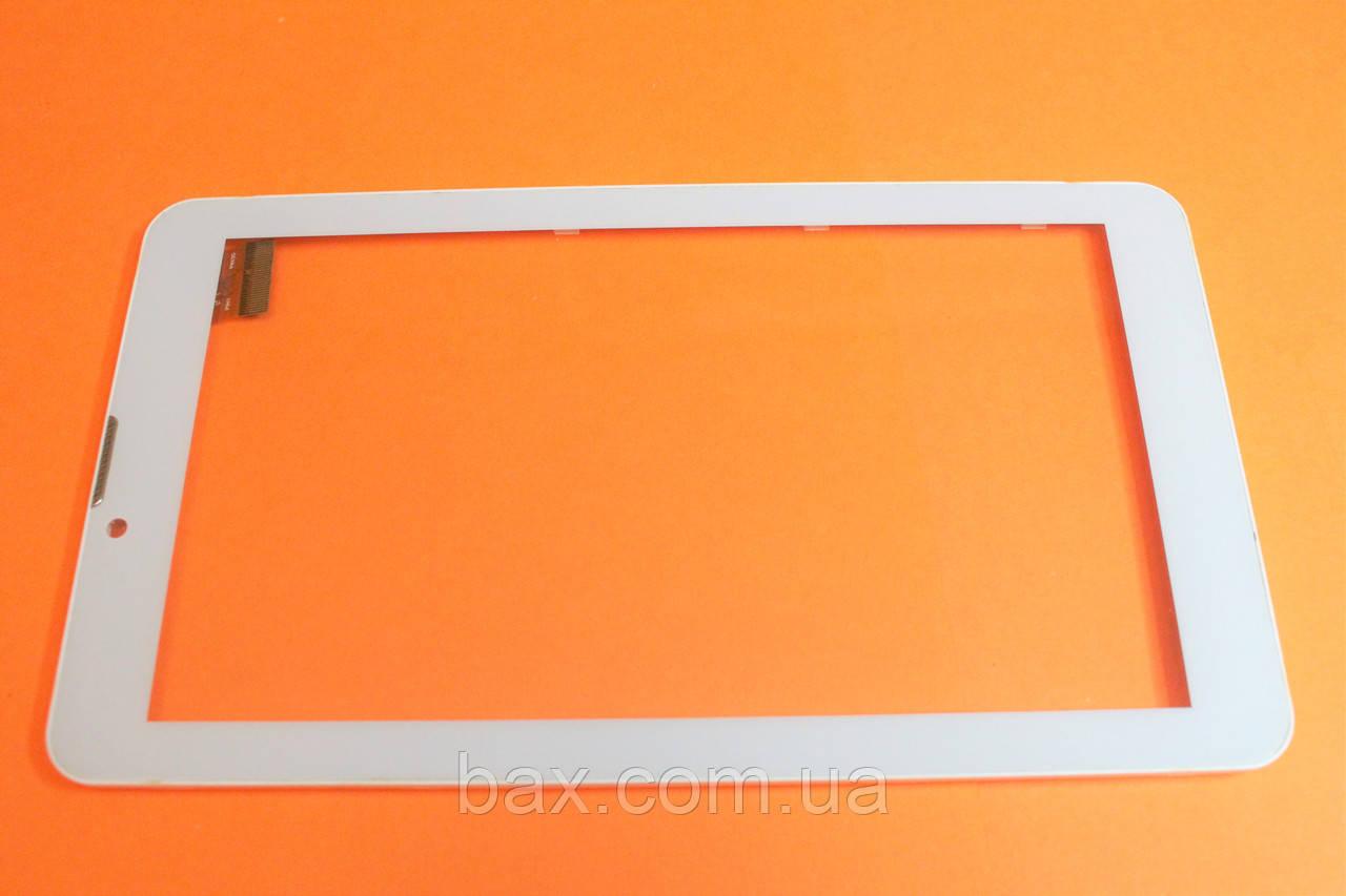 Тачскрин(сенсорный экран) для планшета белый с рамкой Bravis NB74 YLD-CEG7253-FPC-A0 тип 1