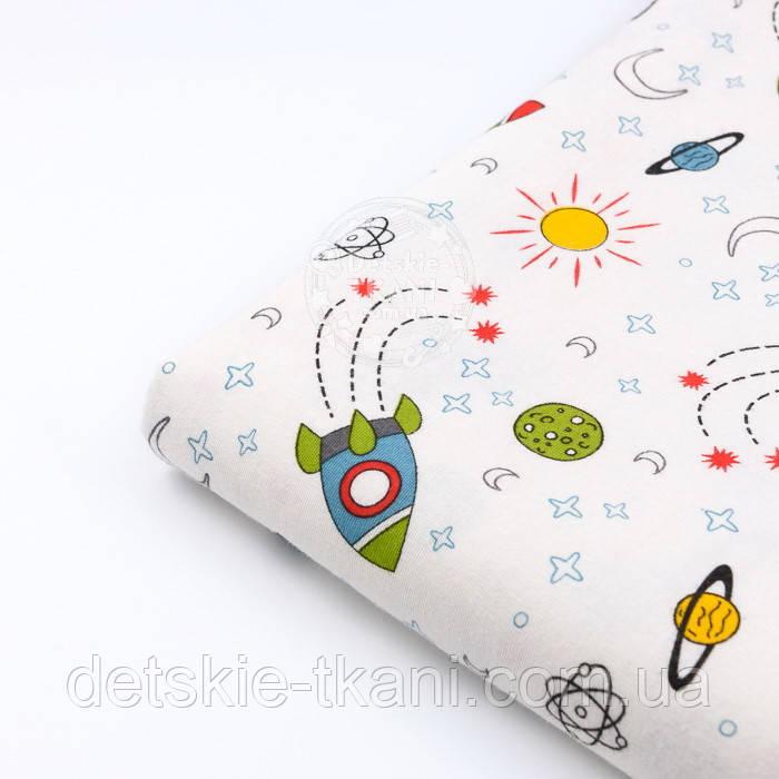"""Лоскут фланели детская """"Ракеты"""", размер 22*240 см"""