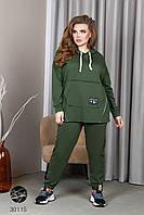 Женский костюм из худи в стиле оверсайз и джоггеров с 48 по 58 размер