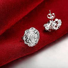 """Маленькі жіночі сережки гвоздики """"Ніжний квітка"""" покриття срібло, фото 3"""