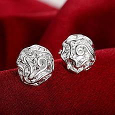 """Маленькі жіночі сережки гвоздики """"Ніжний квітка"""" покриття срібло, фото 2"""
