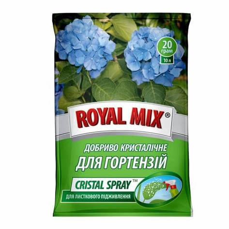 Добриво Royal Mix cristal spray для гортензій (N-10;P-10;K-37+мікроелем.+прилипач) 20г, Агрохімпак, фото 2