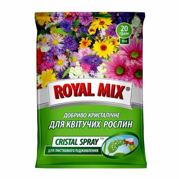 Добриво Royal Mix cristal spray для квітучих (N-11;P-16;K-31+мікроелем.+прилипач) 20г, Агрохімпак