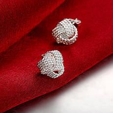 Серьги гвоздики женские Сплетение серебрянных нитей покрытие серебро, фото 3