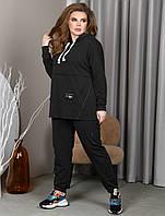 Чёрный спортивный костюм для полных женщин, фото 1