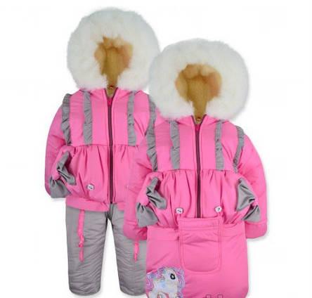 Теплый практичный зимний комбинезон тройка на девочку, фото 2