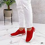 Тільки 36 р! Жіночі кросівки червоні зі стразами без шнурків текстиль, фото 3